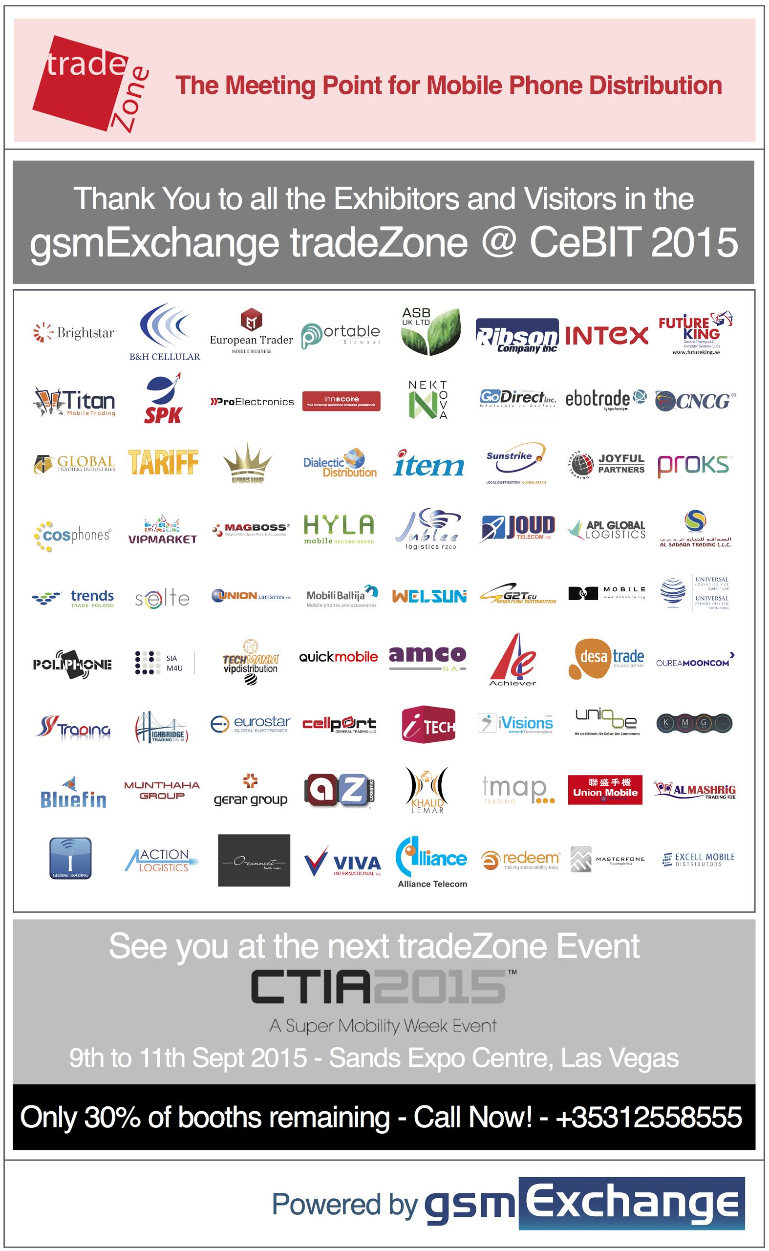 gsmExchange tradeZone Exhibitors 2015